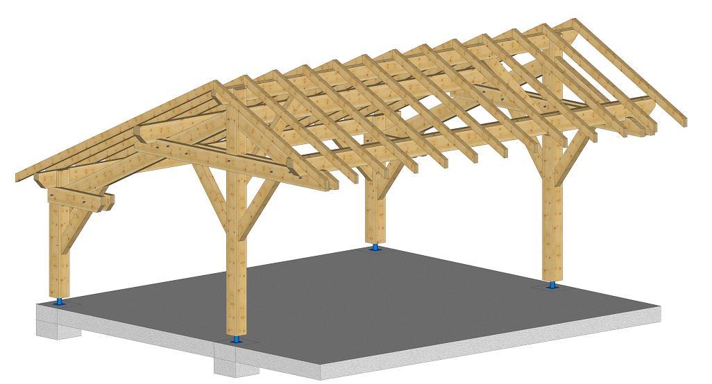 Abri r gion centre kit charpente bois sur mesures - Appenti bois kit ...